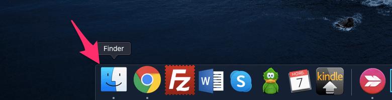 Открытие Finder на macOS для включения терминала