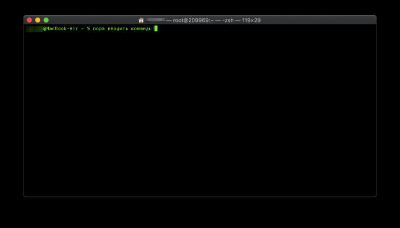 Окно открытого терминала macOS на MacBook