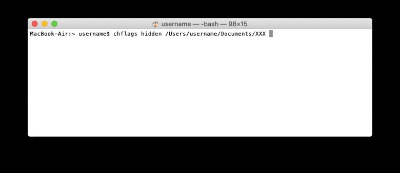 Скрываемый файл или папка в окне Терминала macOS