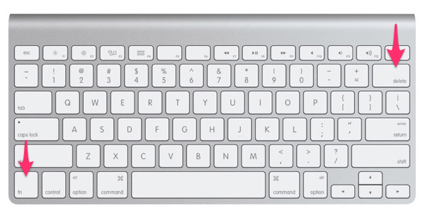 Удаление символов после курсора на Mac OS delete