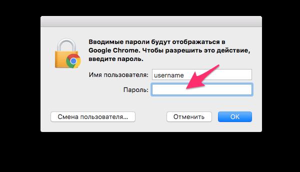 Ввод пароля от ОС для просмотра сохраненных паролей в Google Chrome