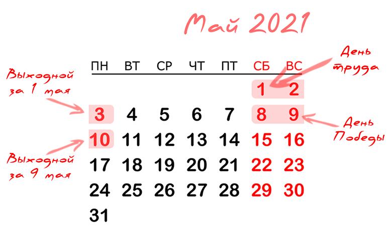 Майские праздники 2021 - график официальных выходных